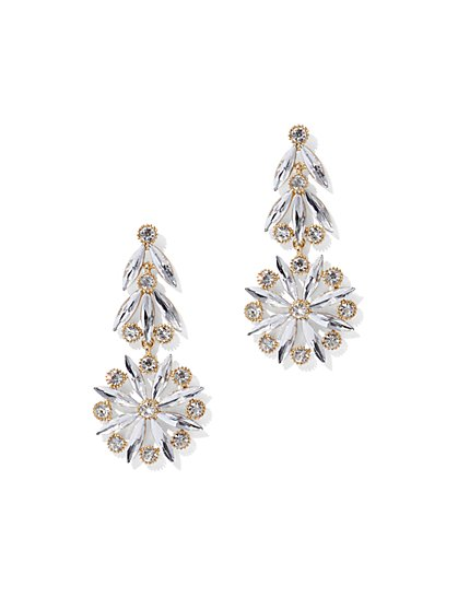 Goldtone Floral Drop Earring - New York & Company