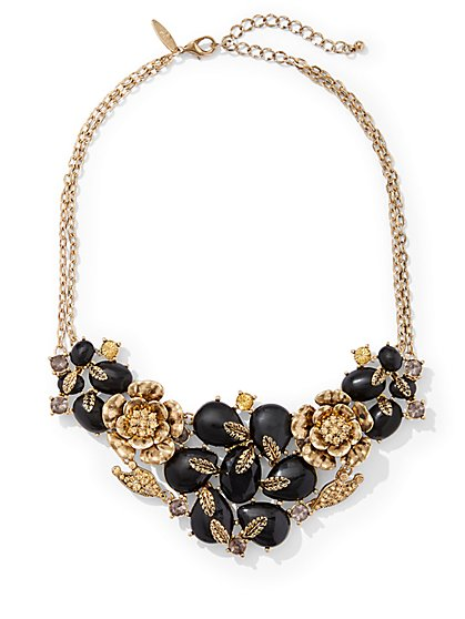 Goldtone Floral Statement Necklace  - New York & Company
