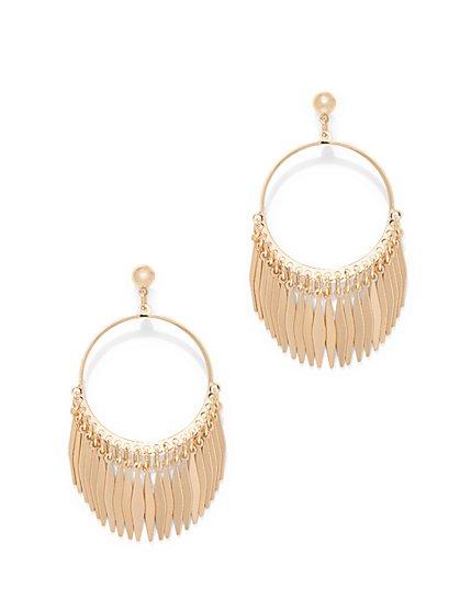 Goldtone Fringe Hoop Drop Earring  - New York & Company