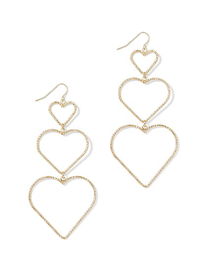 Goldtone Heart Drop Earring - New York & Company