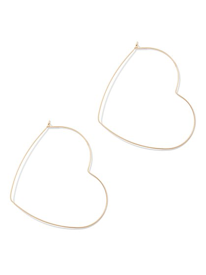 Goldtone Heart Hoop Earring - New York & Company
