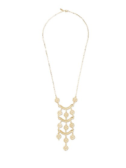 Goldtone Ladder Pendant Necklace  - New York & Company