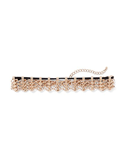 Goldtone Lattice Choker Necklace  - New York & Company