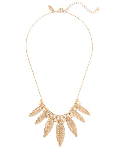 Goldtone Leaf Statement Necklace  - New York & Company