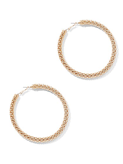 Goldtone Link Hoop Earring - New York & Company