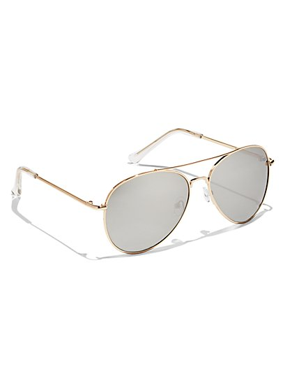 Goldtone Mirror-Lens Aviator Sunglasses - New York & Company