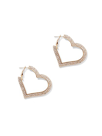 Goldtone Pave Heart Hoop Earring - New York & Company