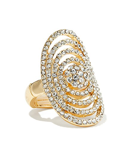 Goldtone Pave Stretch Ring  - New York & Company