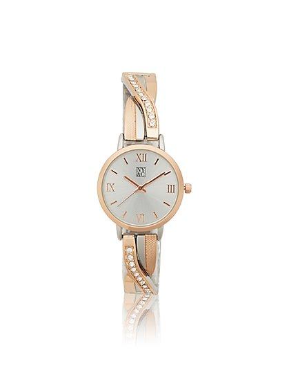 Goldtone Pave Twist Watch - New York & Company