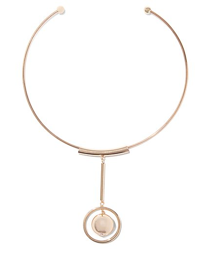 Goldtone Pendant Collar Necklace  - New York & Company