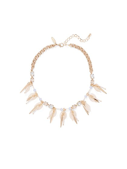 Goldtone Petal Drop Necklace  - New York & Company