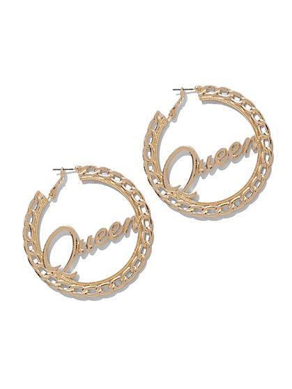 "Goldtone ""Queen"" Hoop Earring - New York & Company"