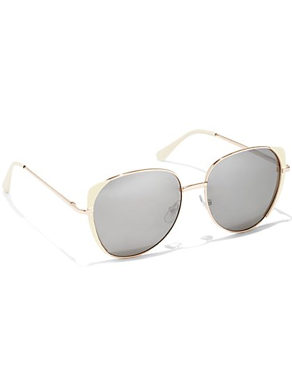 Goldtone Round Sunglasses - New York & Company