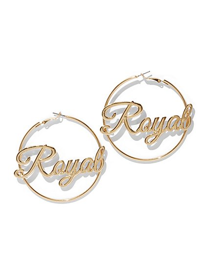 "Goldtone ""Royal"" Hoop Earring - New York & Company"