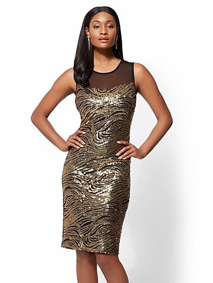 Goldtone Sequin Sheath Dress - New York & Company