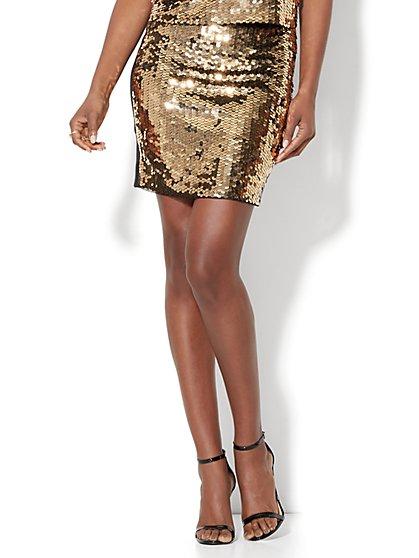 Goldtone Sequin Skirt - New York & Company