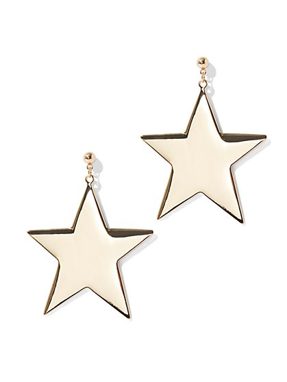Goldtone Star Drop Earrings - New York & Company