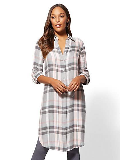 Grey Plaid Maxi Shirt - New York & Company