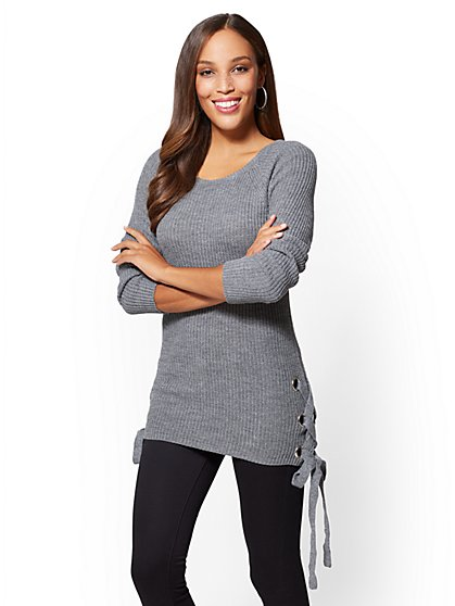 Grommet Lace-Up Sweater - New York & Company
