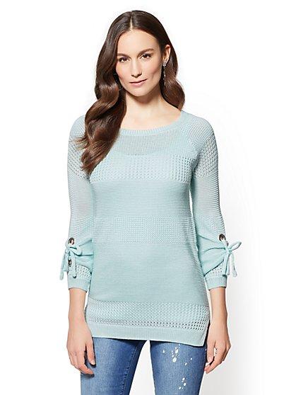 Grommet-Tie Sleeve Scoopneck Sweater - New York & Company