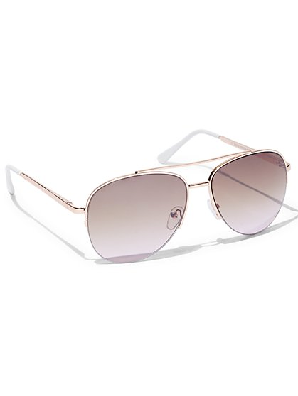 Half-Rimless Aviator Sunglasses - New York & Company