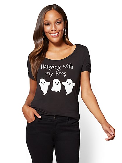 "Halloween Metallic Foil ""Hanging with my Boos"" Graphic Logo Tee - New York & Company"