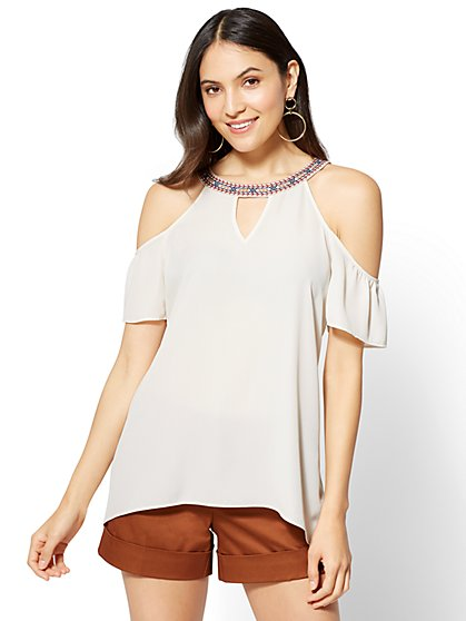 Halter Cold-Shoulder Blouse - New York & Company