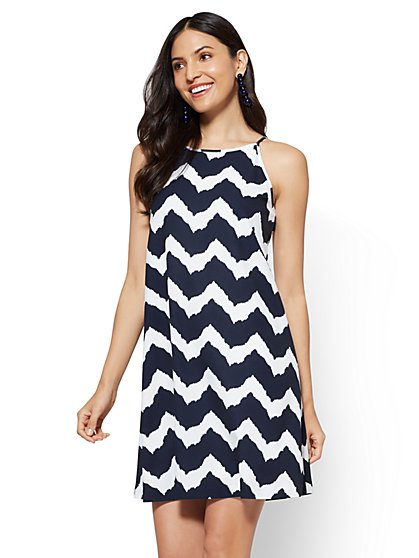 Halter Dress - White - Chevron Print - New York & Company