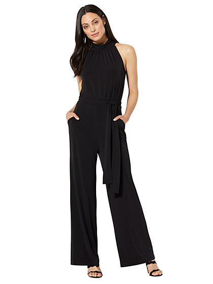 Halter Jumpsuit - Black - New York & Company