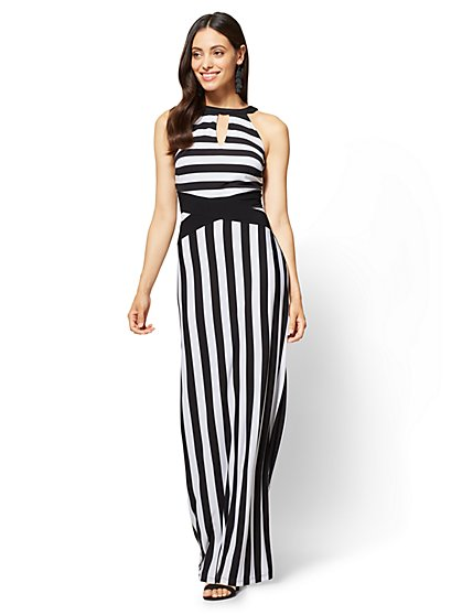 Halter Maxi Dress - Black & White Stripe - New York & Company