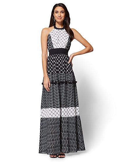 Halter Maxi Dress - Black & White - Tall - New York & Company