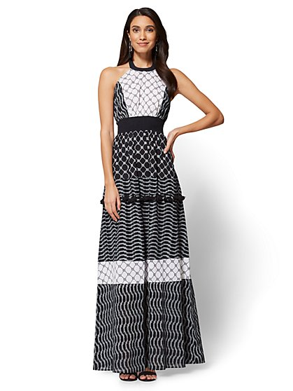 Halter Maxi Dress - Black & White - New York & Company