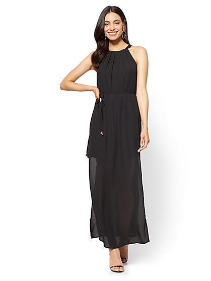 Halter Maxi Dress - Black - New York & Company