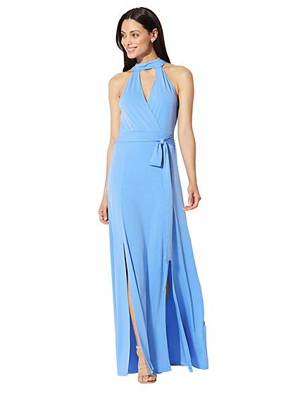 Halter Maxi Dress - Blue - Petite - New York & Company