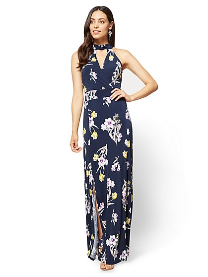 Halter Maxi Dress - Floral - New York & Company