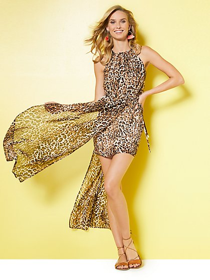 Halter Maxi Dress - Leopard Print - New York & Company