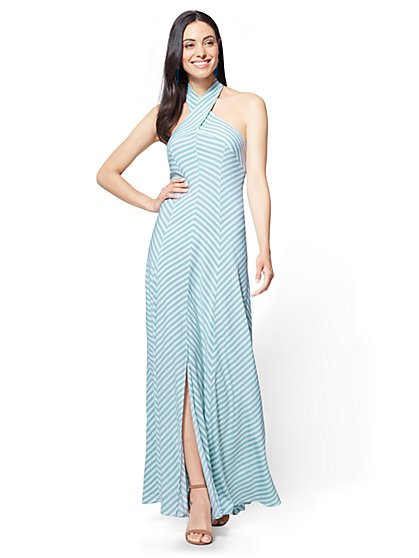 Halter Maxi Dress - Stripe - Petite - New York & Company