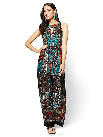 Halter Maxi Dress - Teal - Mixed Print - New York & Company