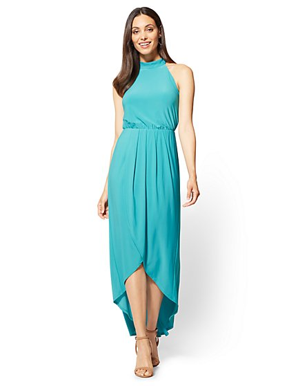 Halter Maxi Dress - Turquoise - New York & Company