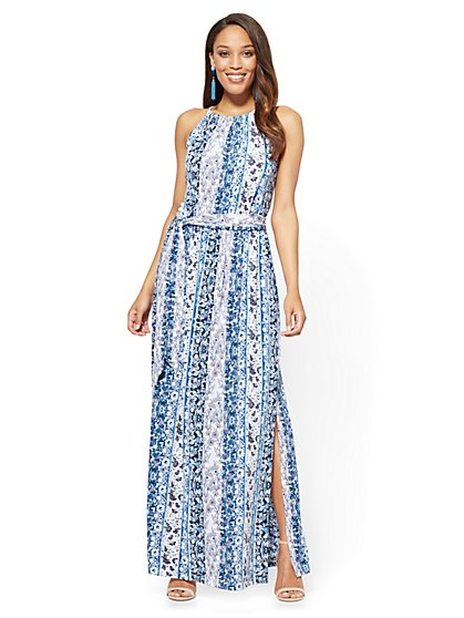 Halter Maxi Dress - White - Floral - New York & Company
