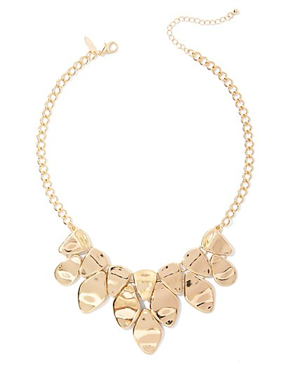 Hammered Metal Statement Necklace  - New York & Company