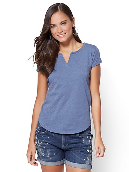 Hampton Split-Neck Tee - New York & Company