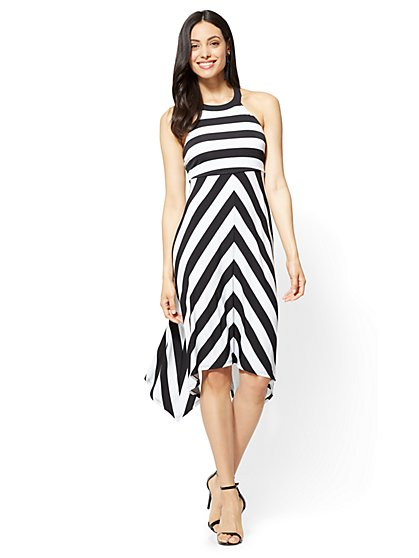 Handkerchief-Hem Halter Dress - Stripe - New York & Company