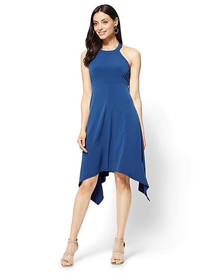 Handkerchief-Hem Halter Dress - New York & Company