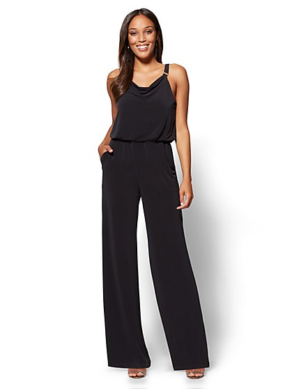 Hardware-Accent Draped Jumpsuit - Petite - New York & Company