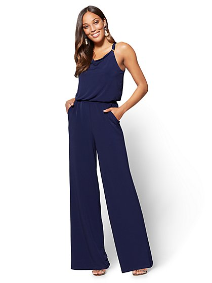 Hardware-Accent Draped Jumpsuit - New York & Company