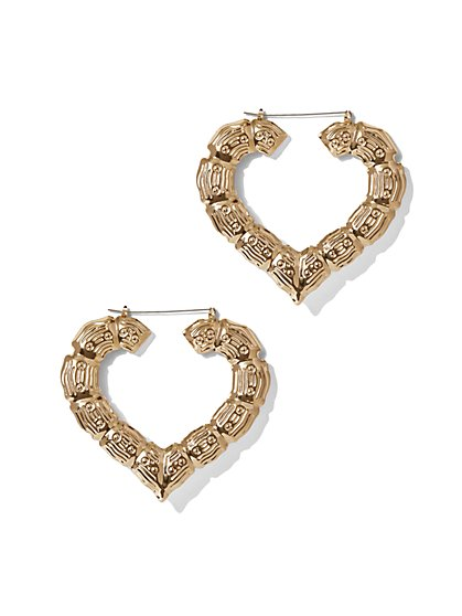 Heart-Shaped Bamboo Hoop Earring - New York & Company