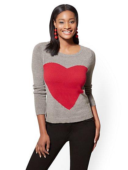 Heart Sweater - Heather Grey - New York & Company