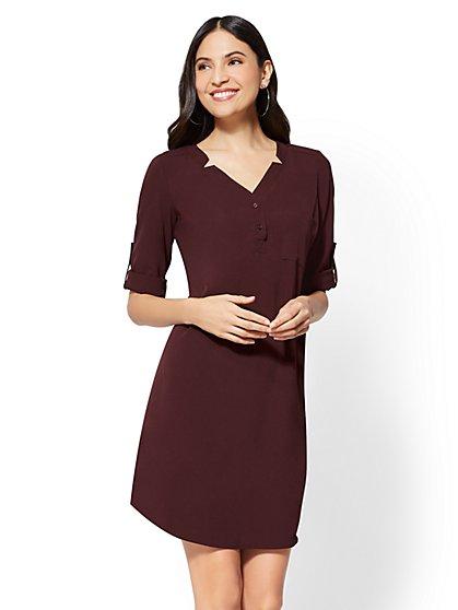 Henley Shift Dress - New York & Company