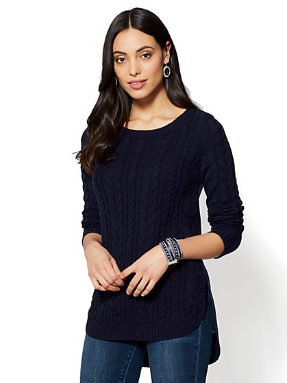 Hi-Lo Cable-Knit Sweater - New York & Company